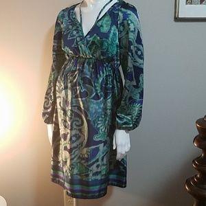 Maternal America Blue & Green Long Sleeve Dress